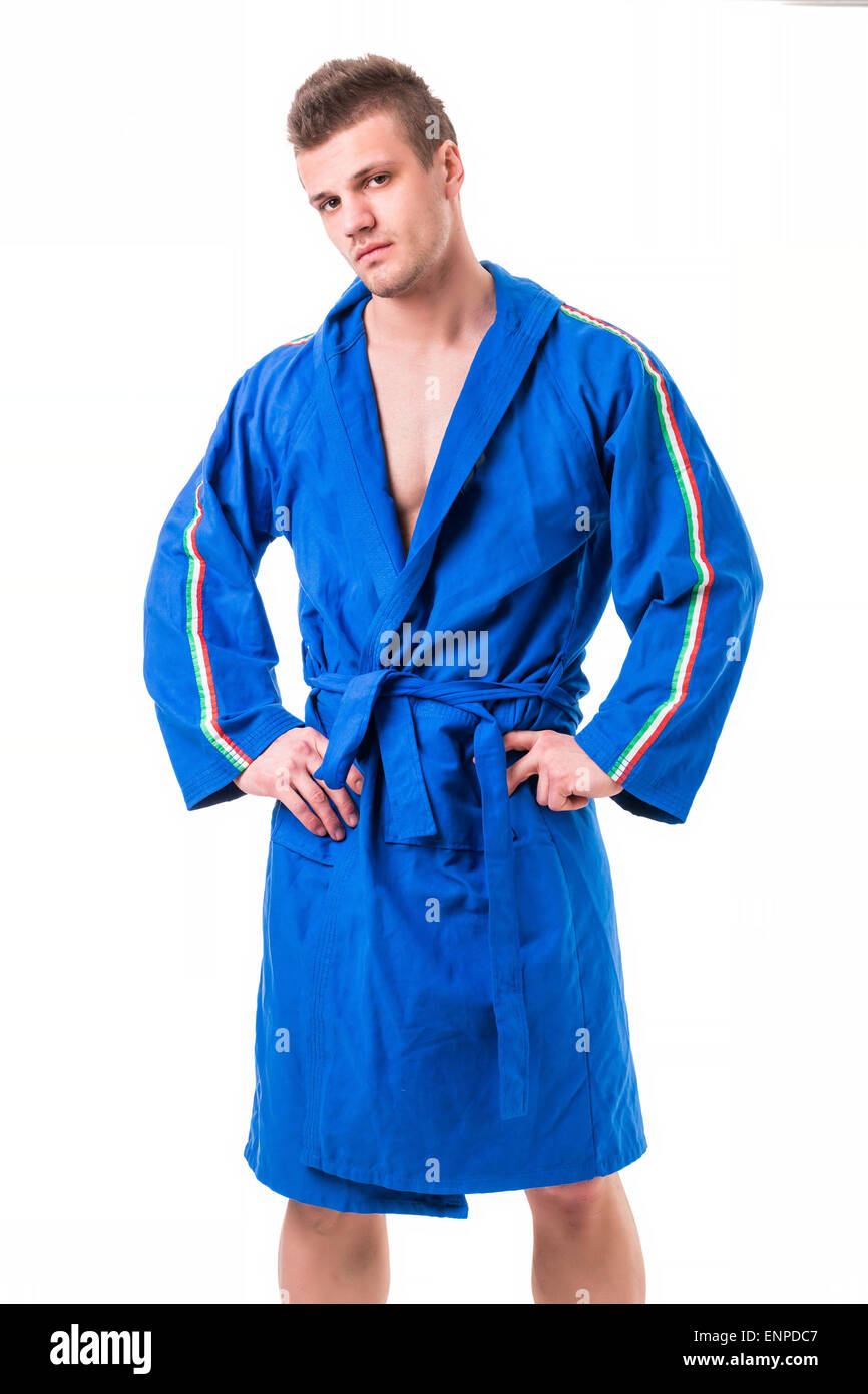 Handsome Young Man Wearing Blue Bathrobe Isolated On White Stock Photo Alamy