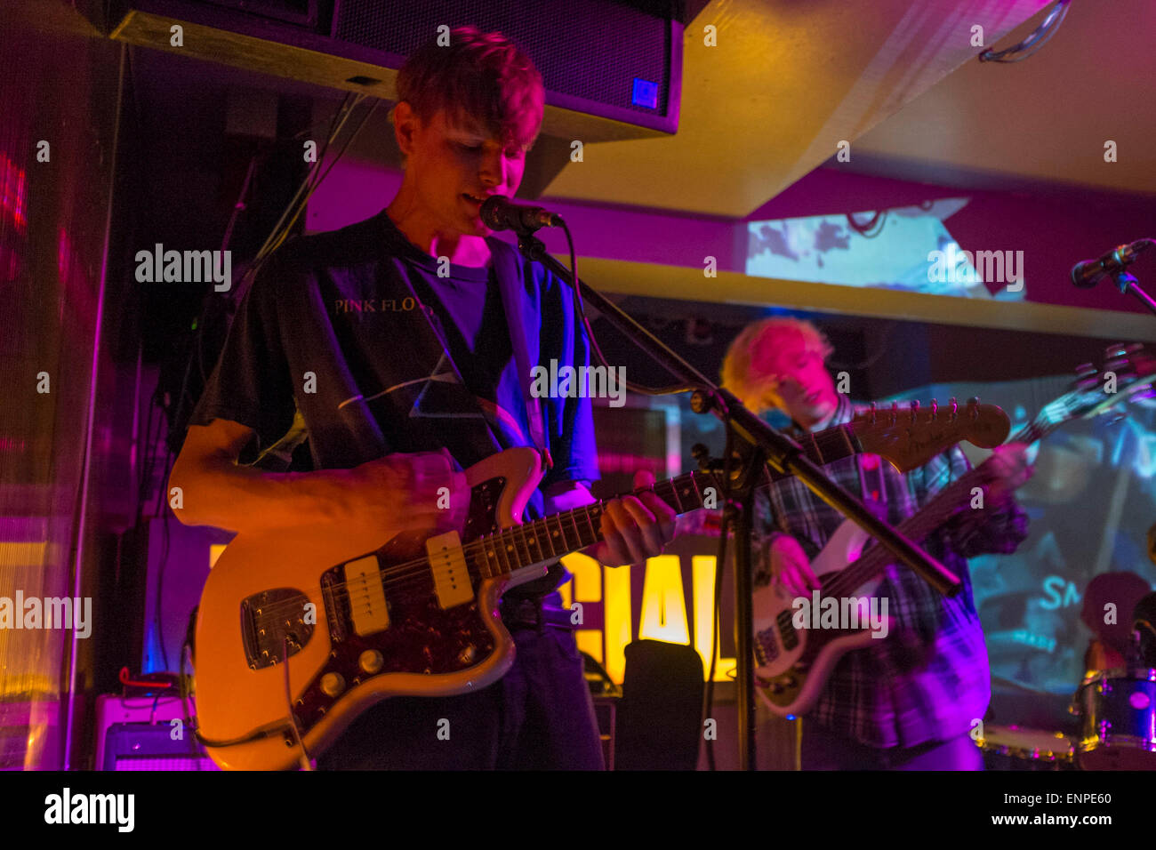 London, UK. Wednesday 22nd April 2015. Indie band Crushed Beaks playing live at The Social in London. Stock Photo