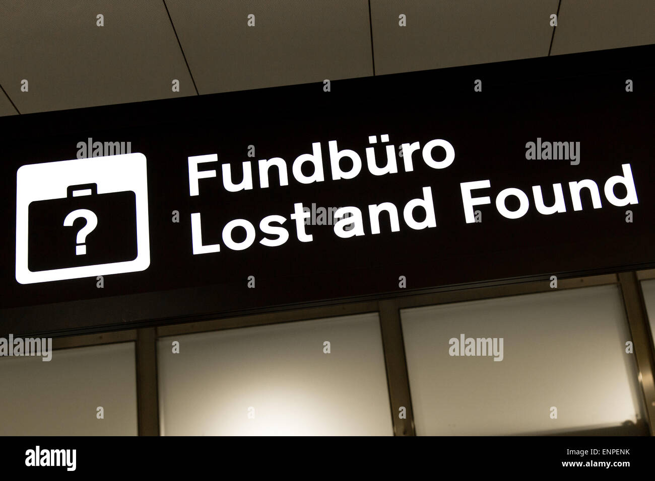 lost and found airport sign at zurich airport stock photo