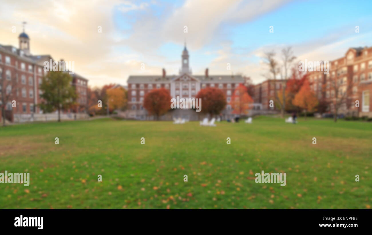 Blurred background of undergrad a traditional college campus on the eastern seaboard of the USA. - Stock Image