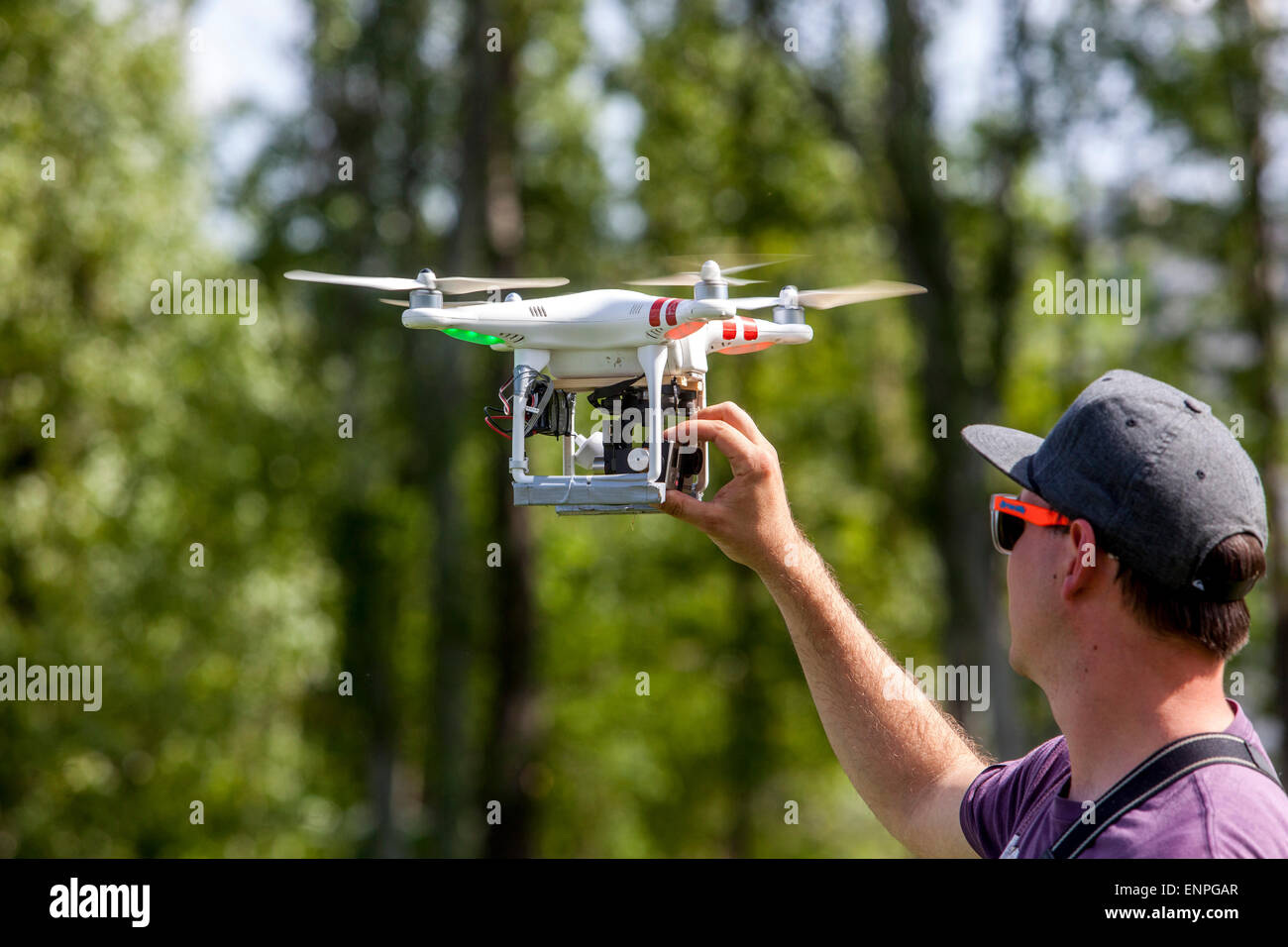 Man with drone Prague Czech Republic Europe - Stock Image