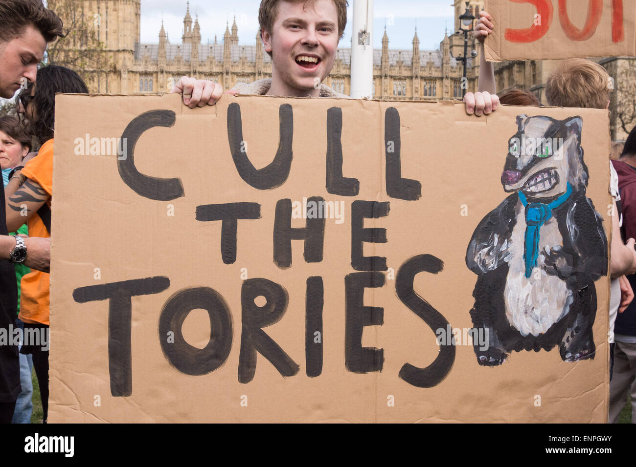 London, 9th May 2015. A protester holds a humourous placard during a demonstration in central London in protest - Stock Image