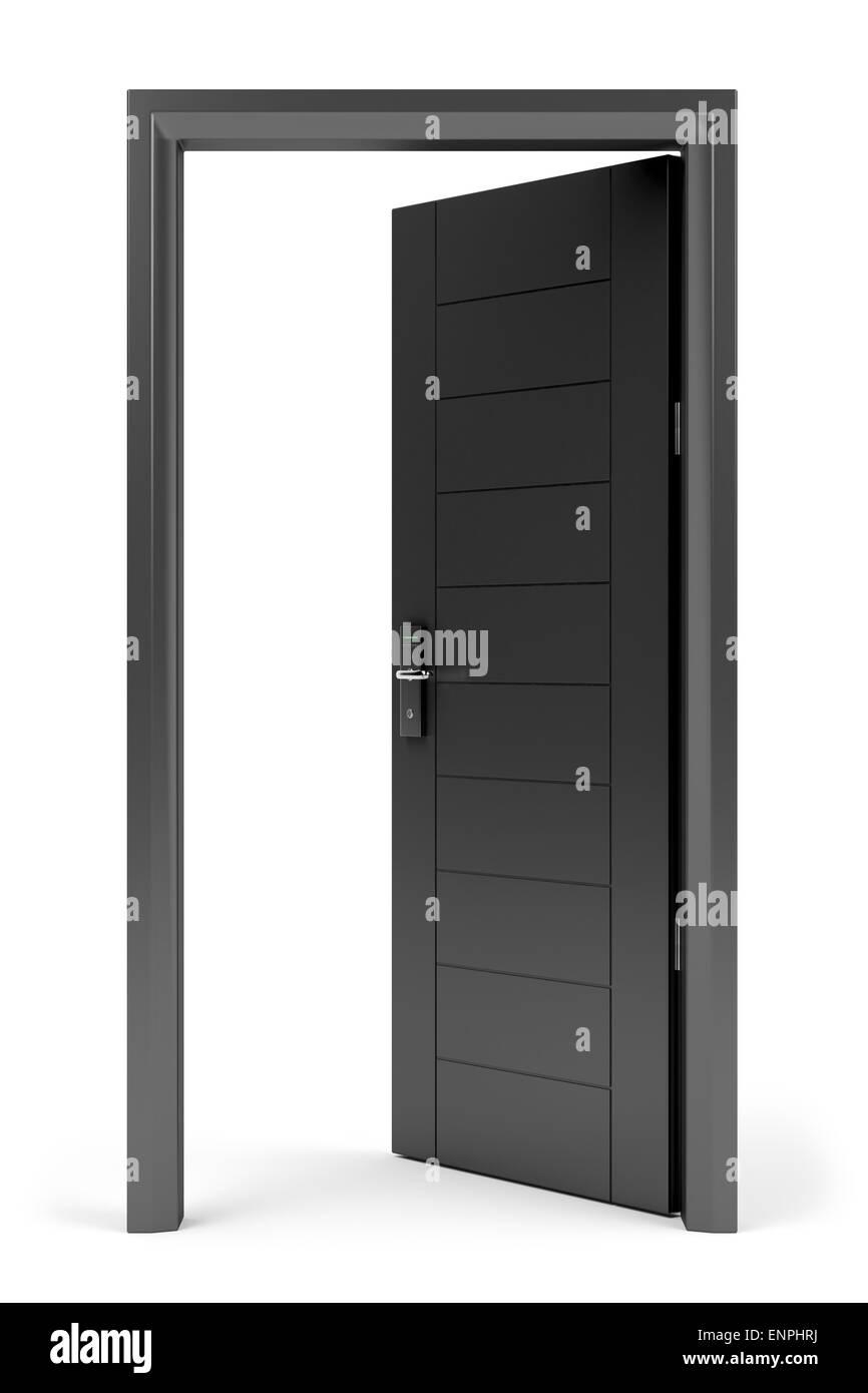 Black opened door with electronic keycard lock on white background - Stock Image