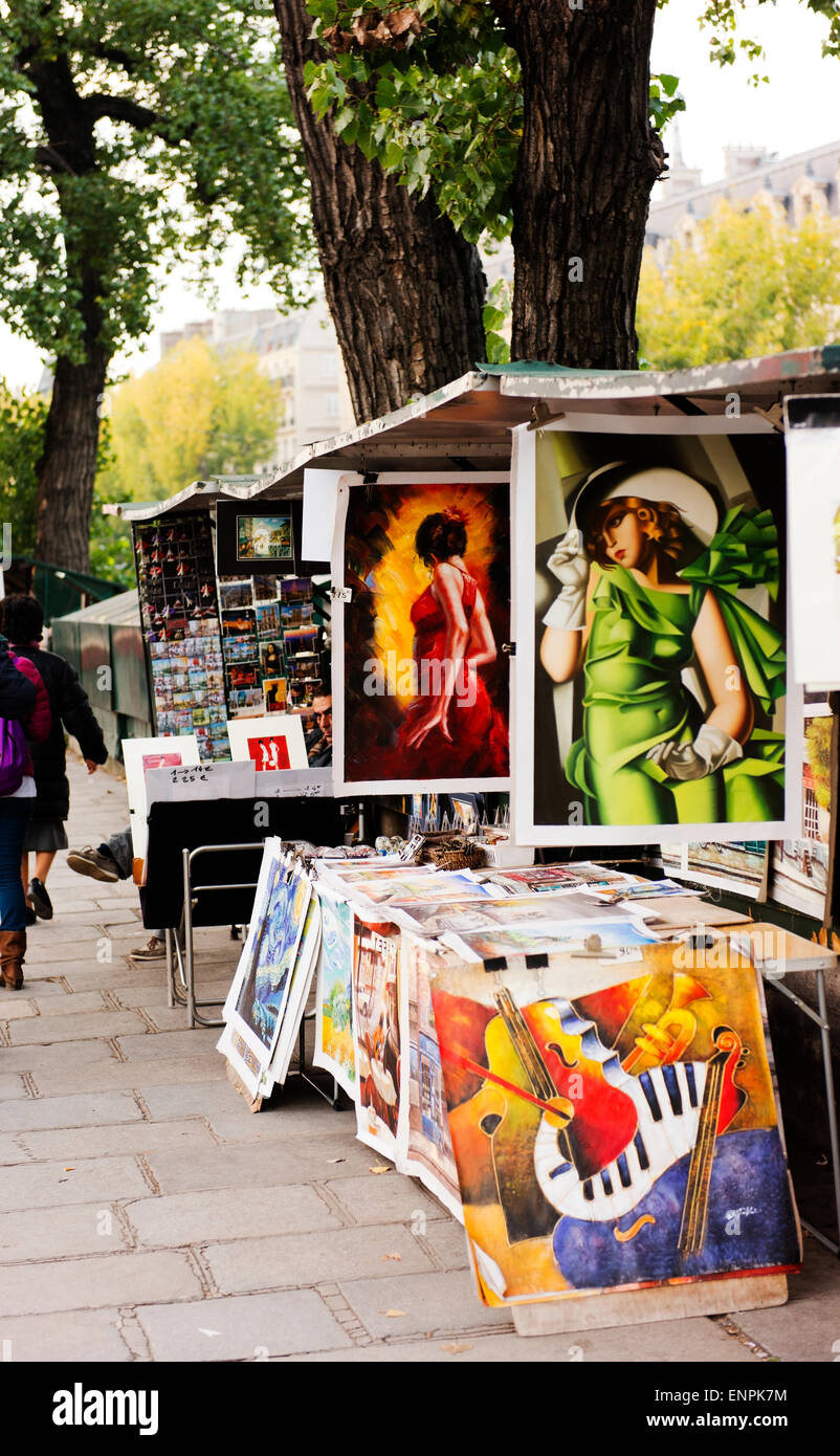 Art for sale on the Seine River's Left Bank. - Stock Image