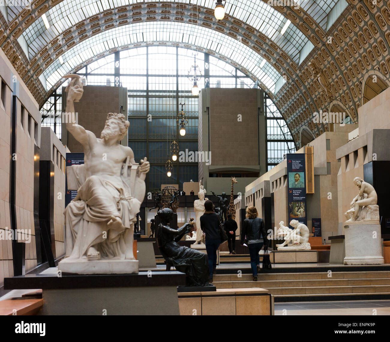 Classic sculptures in Musee d'Orsay, a former railway station. - Stock Image