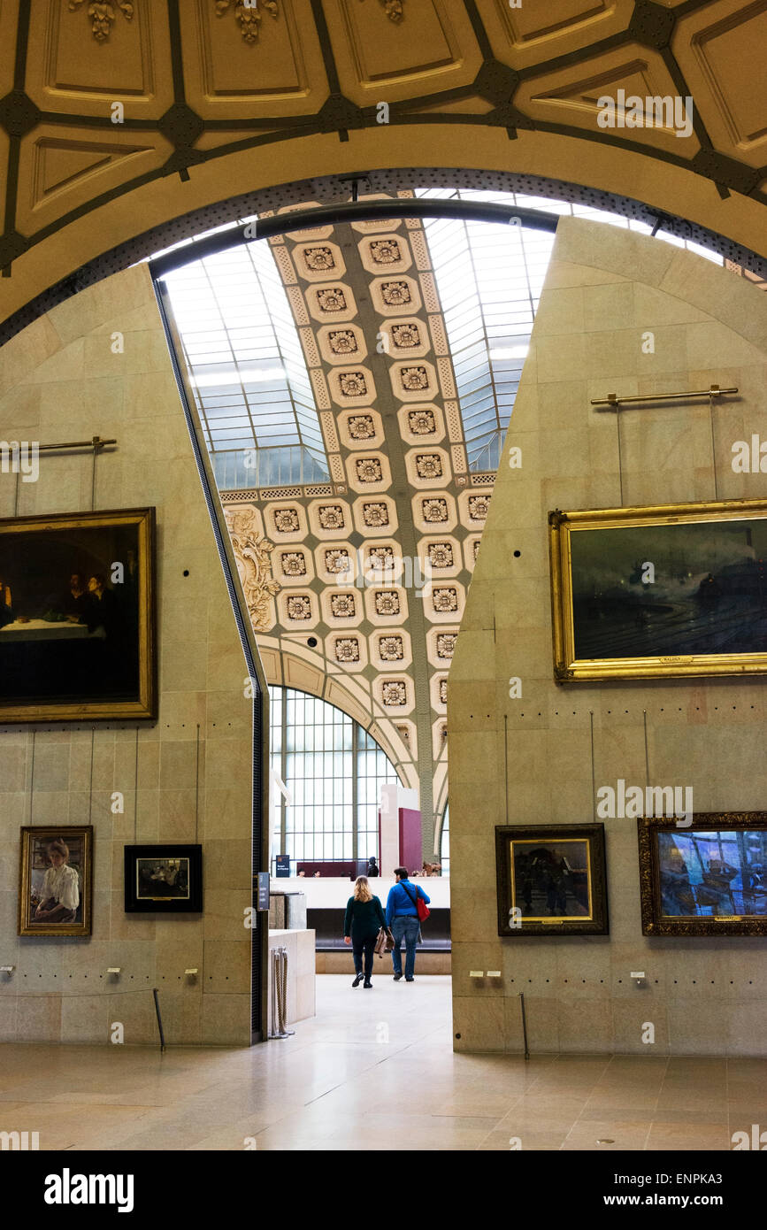 Interior of the Musee d'Orsay, a former train station. - Stock Image
