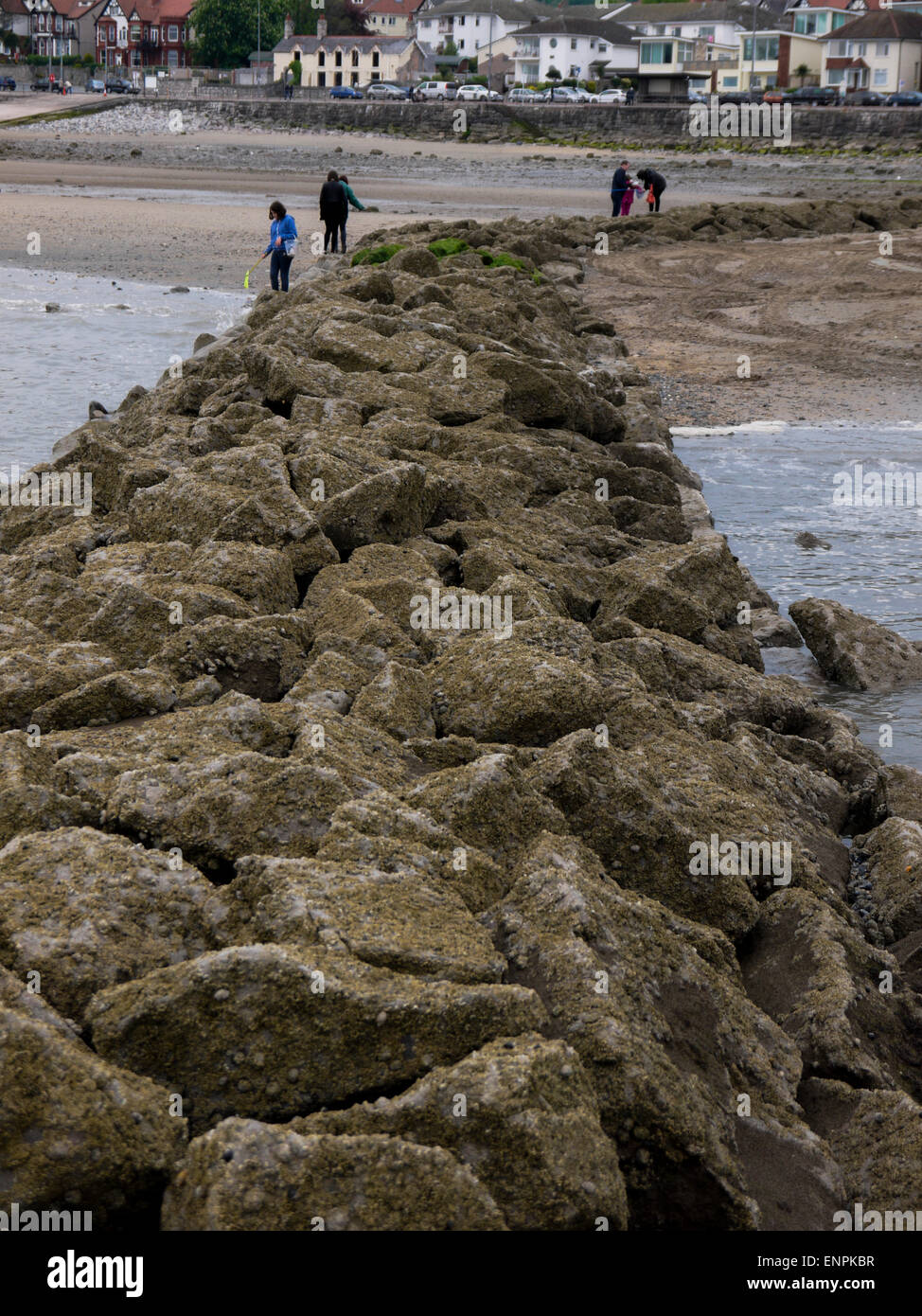 Rhos on Sea from the end of the harbour breakwater - Stock Image
