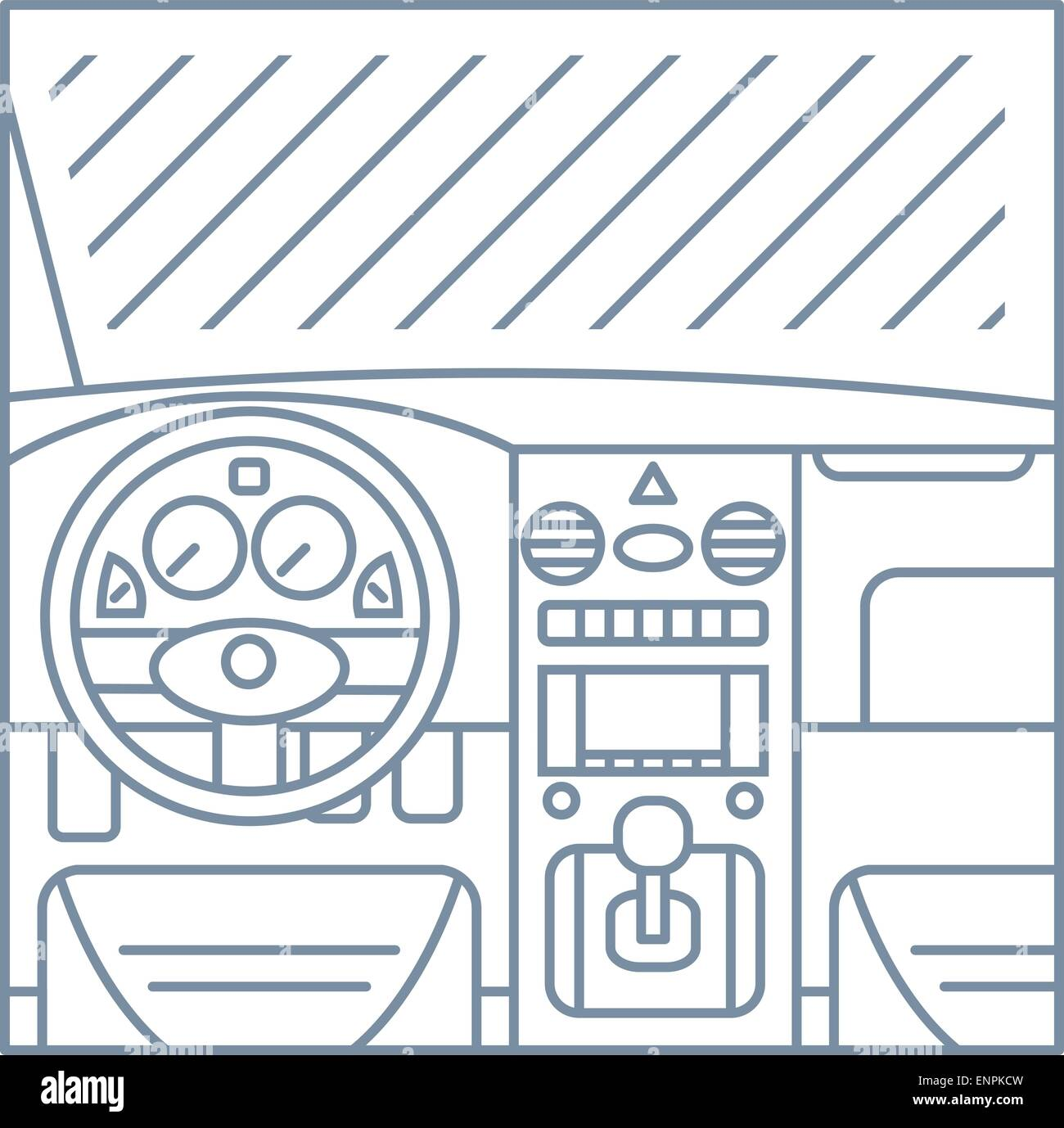 Flat Simple Line Illustration Of Car Interior View Window Whell