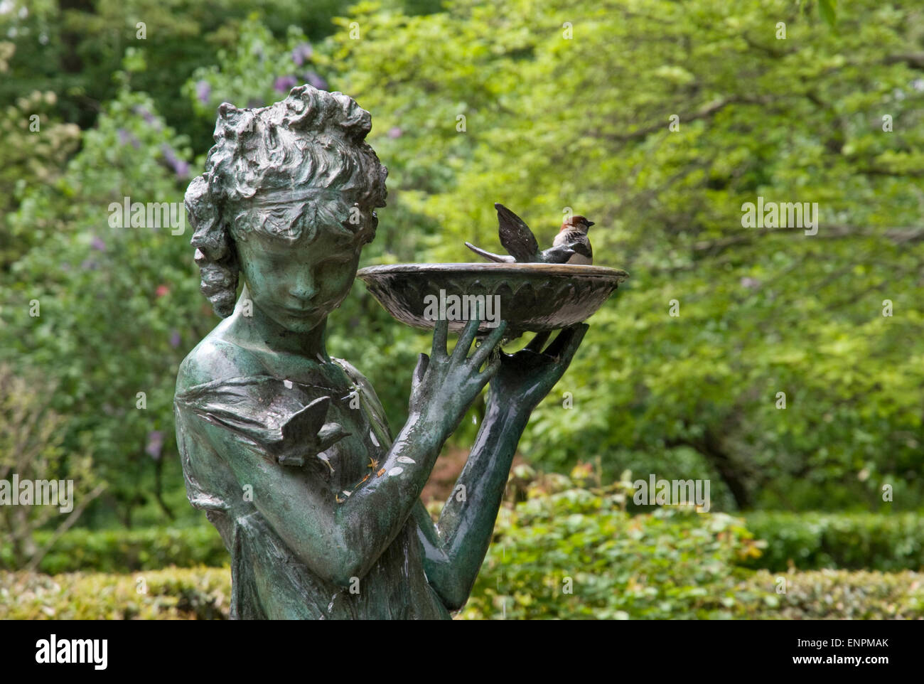 Secret Garden fountain at the Conservatory Garden in Central Park, New York - Stock Image