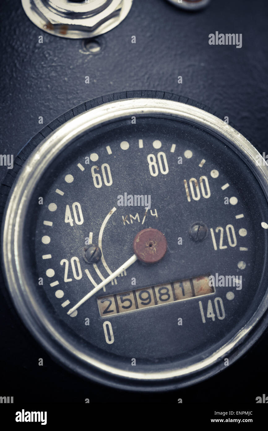 Color detail with the speedometer of a motorcycle. Stock Photo