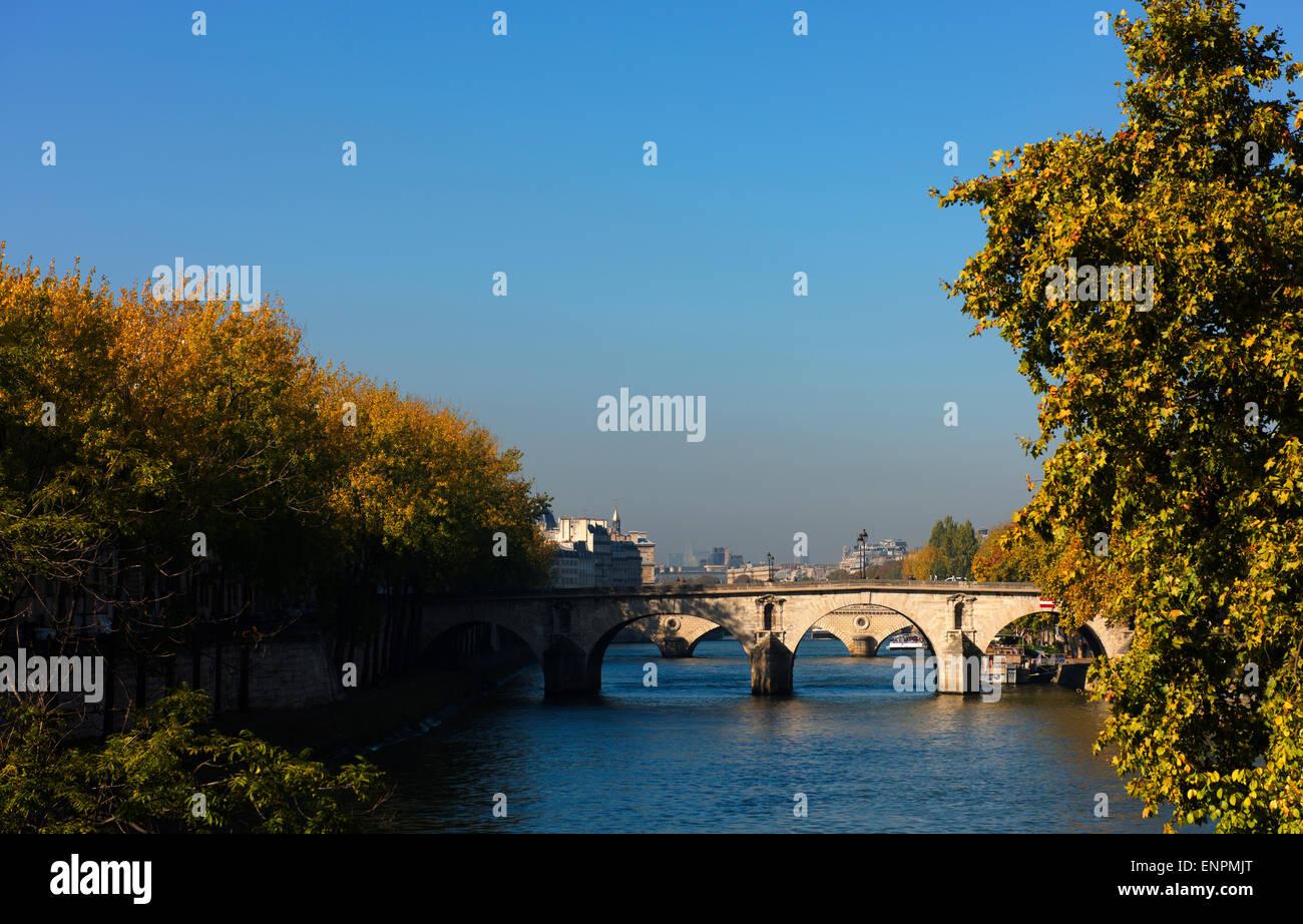 Marie Bridge, Pont Marie, crosses the River Seine between St Gervais and Ile Saint-Louis. - Stock Image
