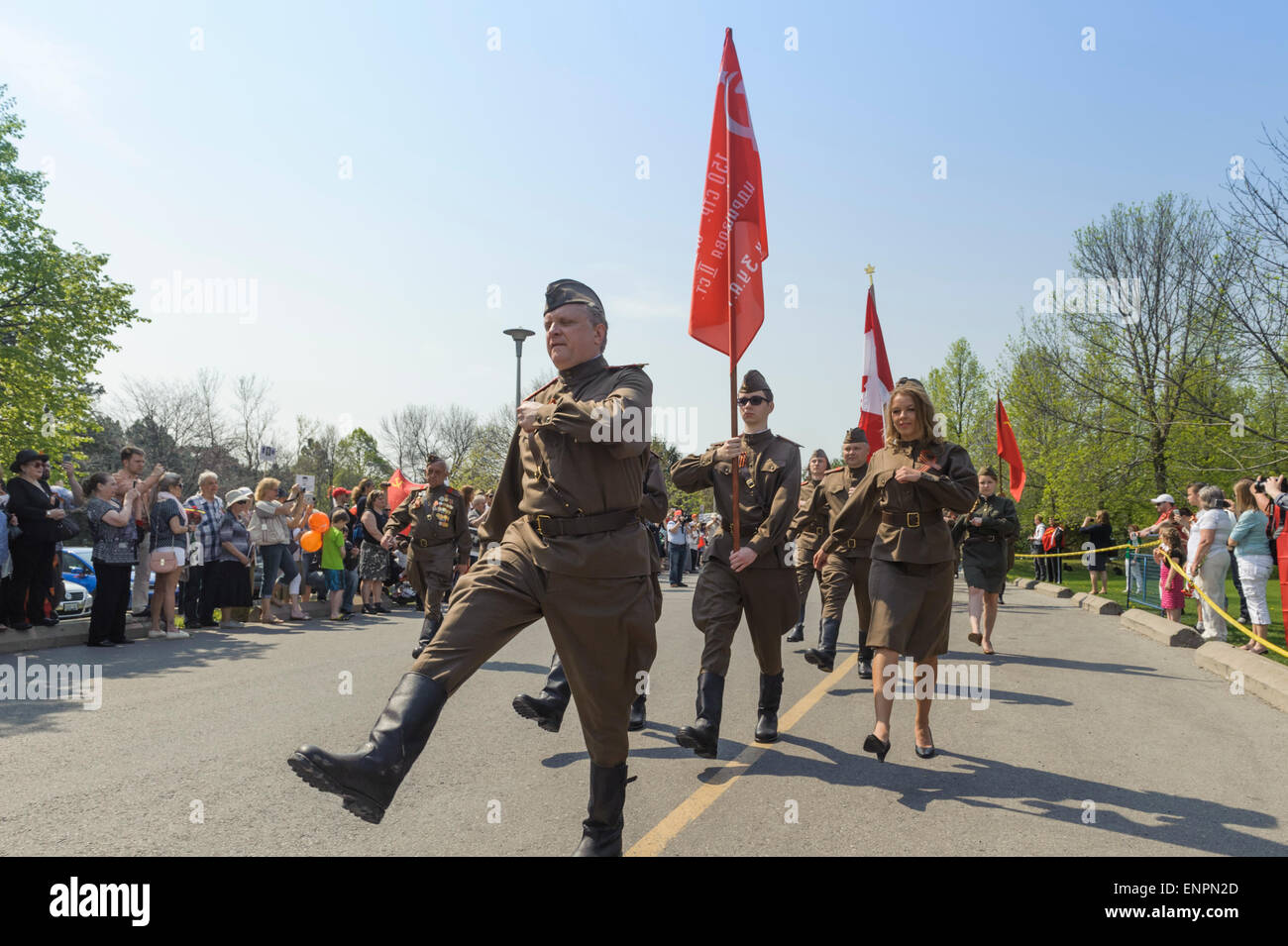 Toronto, Canada. 9th May 2015. Participants of Ceremonial Parade for 70 years anniversary of Victory Day (1945-2015) Stock Photo
