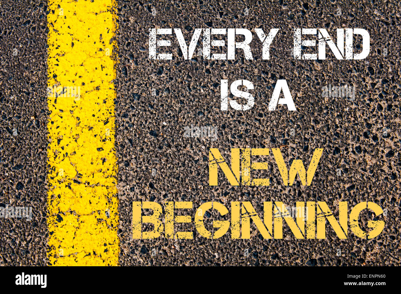 Every End Is A New Beginning Motivational Quote Yellow Paint Line