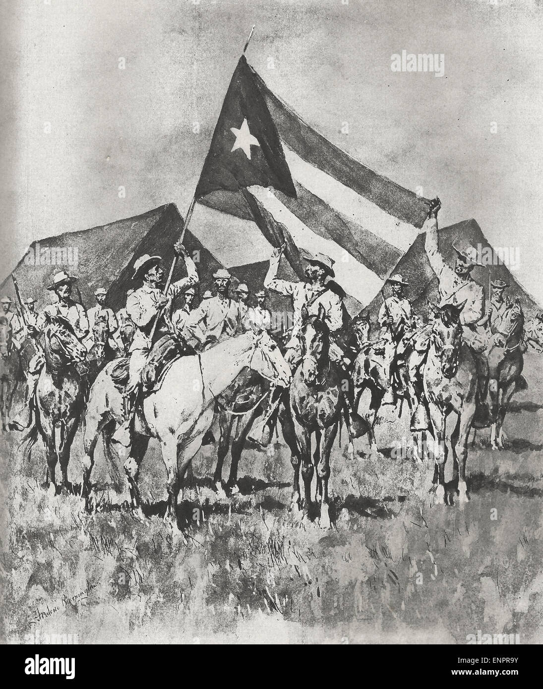 The Flag of Cuba - Insurgent Cavalry formed for a charge during Cuban War of Independence Stock Photo