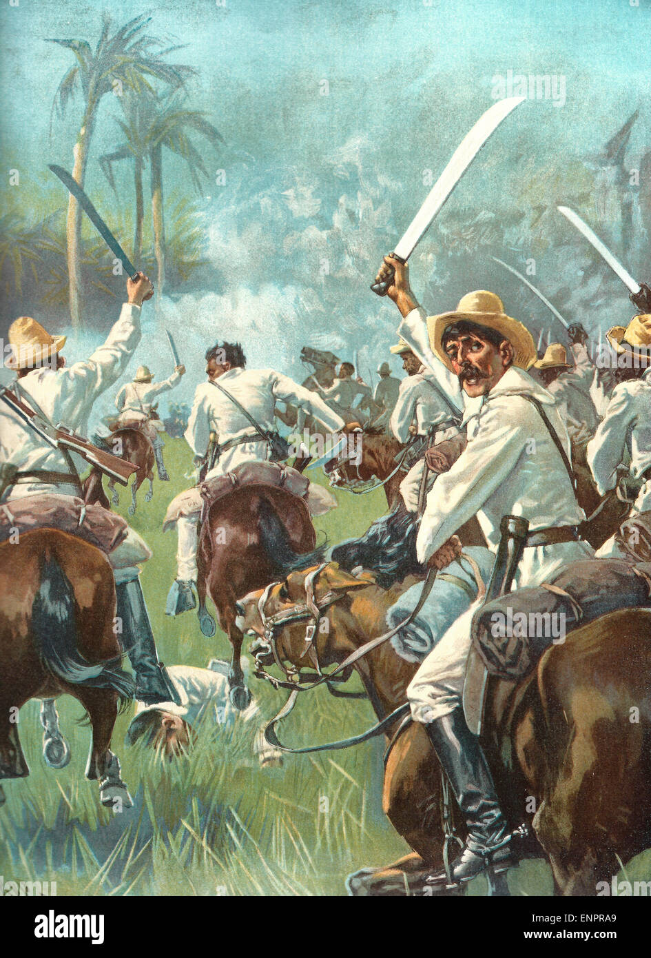 FREDERIC REMINGTON FLAG OF CUBA INSURGENT CAVALRY DRAWN UP FOR A CHARGE CUBA