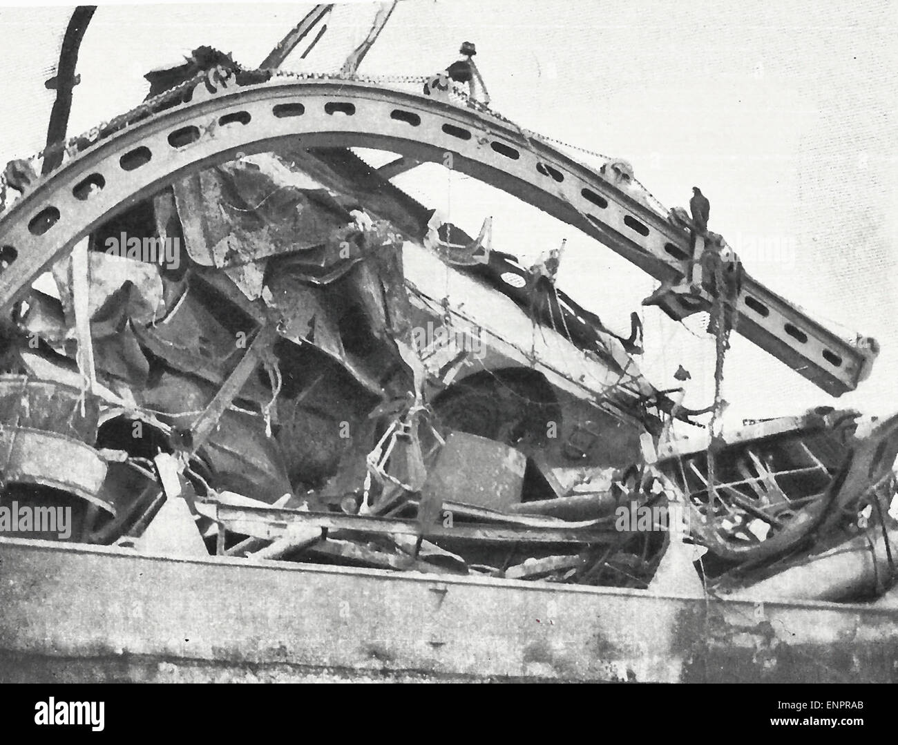 View of Wreckage from Port Side, showing forward 6-inch gun tracks, USS Maine after explosion in Havana Harbor, - Stock Image