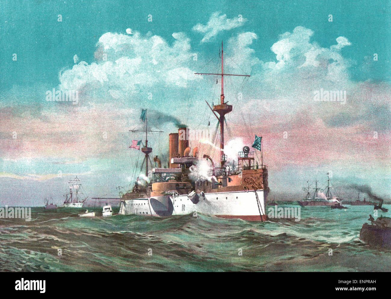 The USS Maine saluting the Spanish Flagship Alfonso on arriving in the harbor of Havana, Cuba   - German School - Stock Image