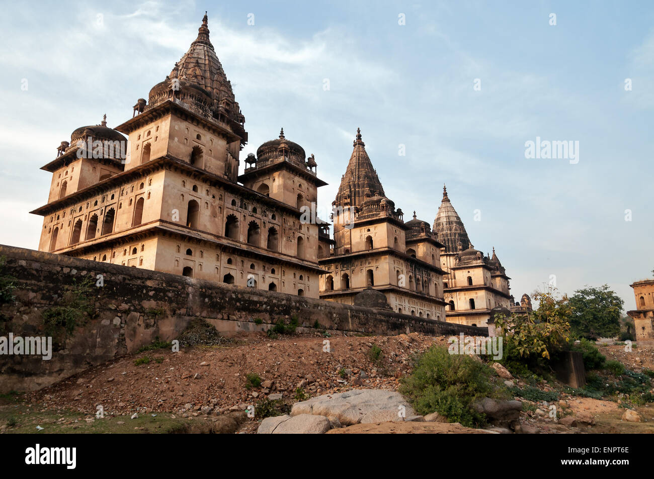 Group of Cenotaphs along the river Betwa in Orchha.  Madhya Pradesh. India - Stock Image