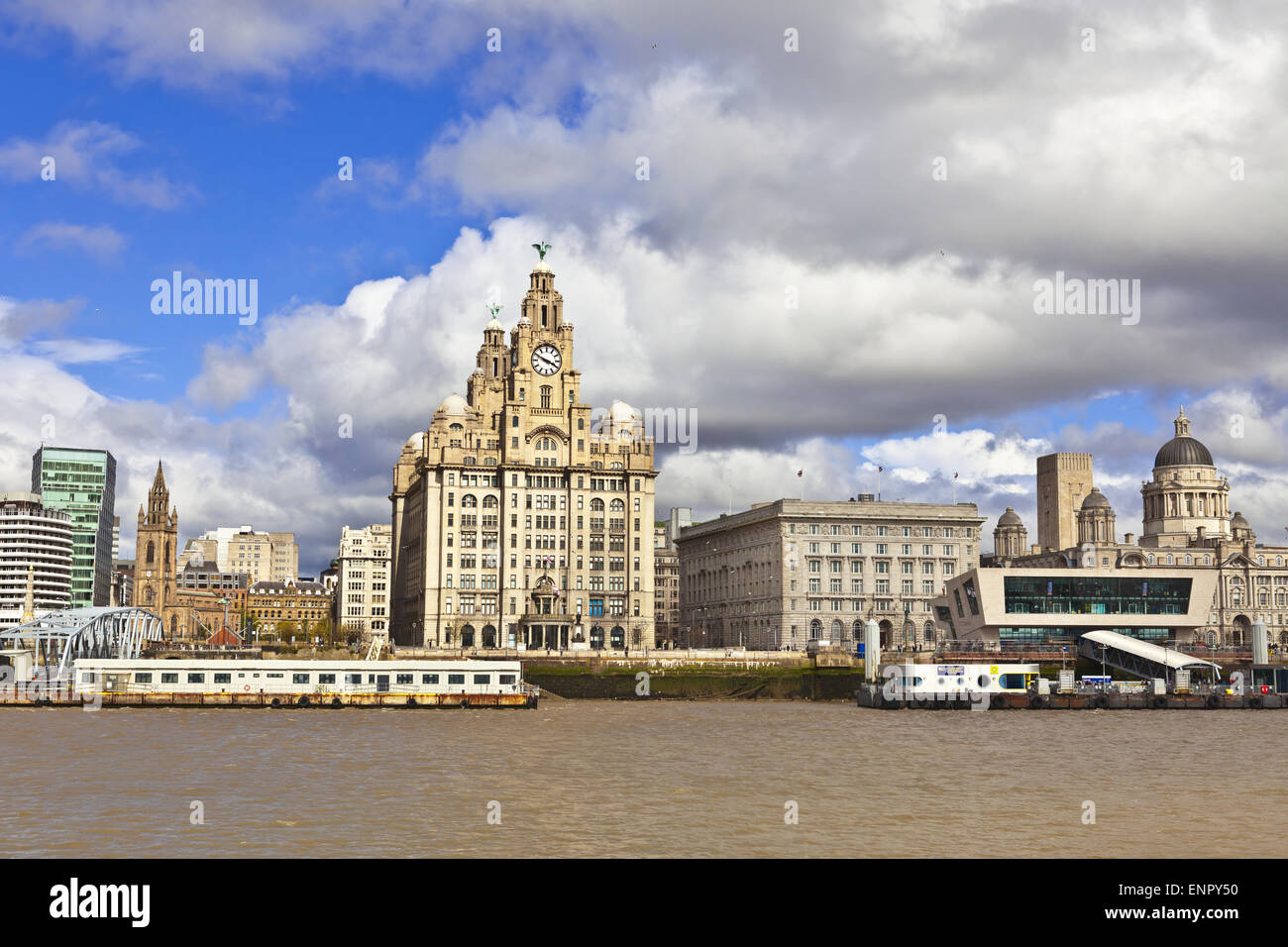 Cityscape at the Pier Head the city centre of Liverpool, Liverpool Maritime Mercantile City UNESCO World Heritage - Stock Image