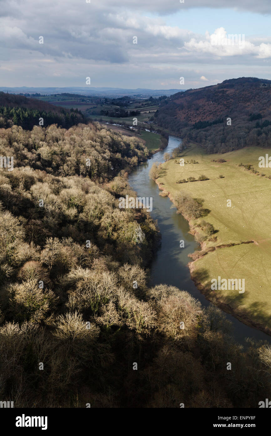 River Wye from Yat Rock, Symonds Yat, Forest of Dean, Gloucestershire - Stock Image