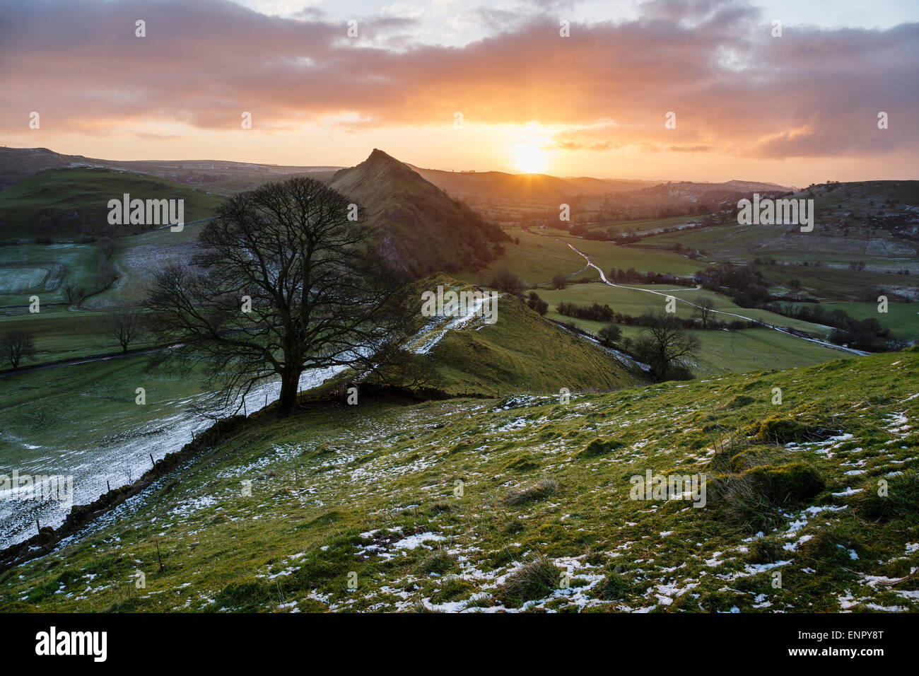 Parkhouse Hill and the upper Dove Valley from Chrome Hill, Peak District National Park, Derbyshire, England - Stock Image