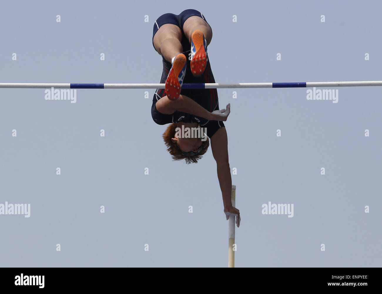 Tokyo, Japan. 10th May, 2015. Han Duhyeon of South Korea competes during the men's pole vault at Seiko Golden - Stock Image