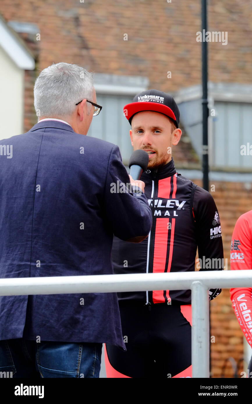 Team Wiggins' is one of eleven pro-cycling teams racing through south Wiltshire Cycle Wiltshire Grand Prix' with Stock Photo