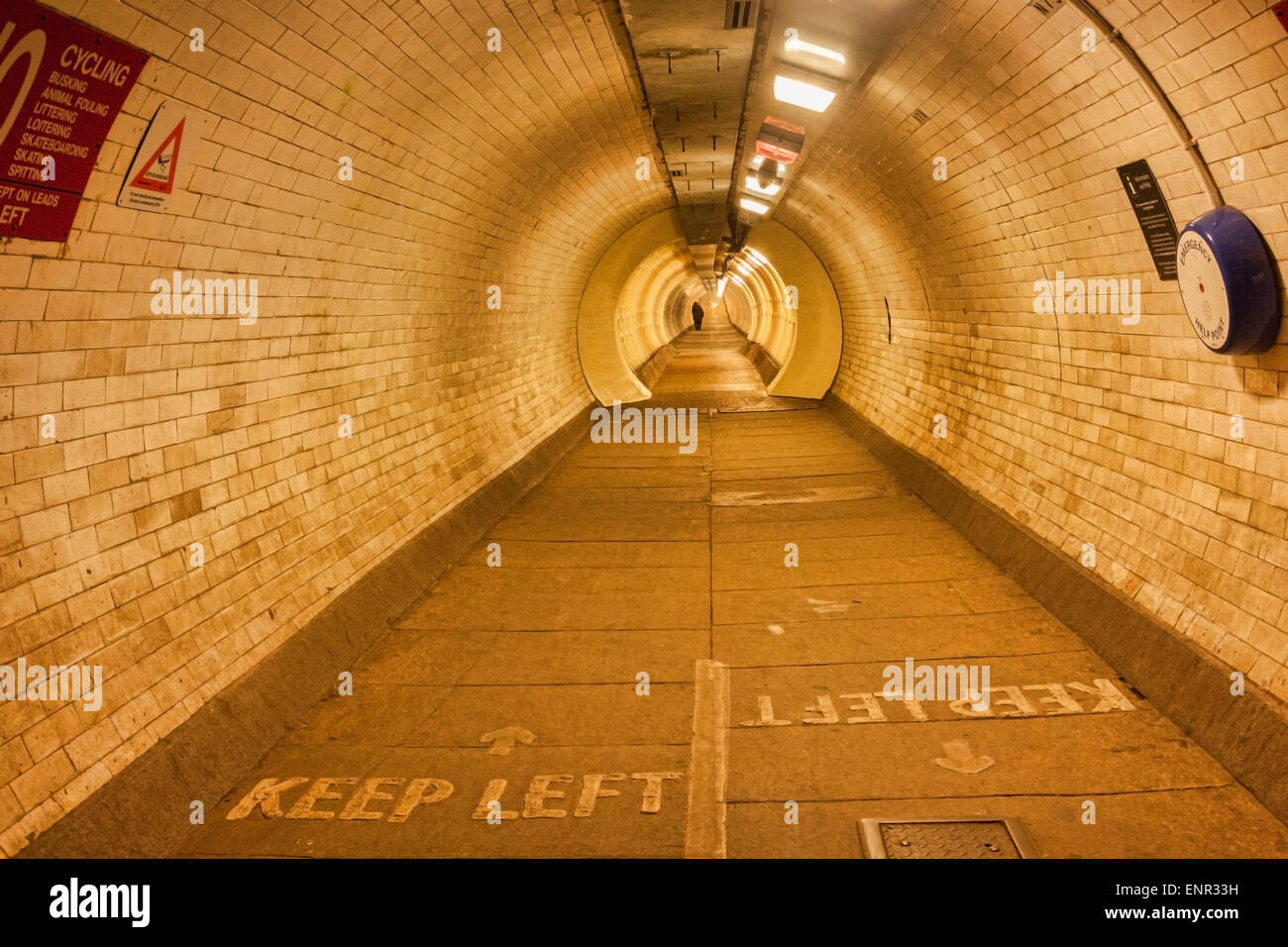 Greenwich Foot Tunnel, London, England, UK. Goes under the River Thames at Greenwich. - Stock Image
