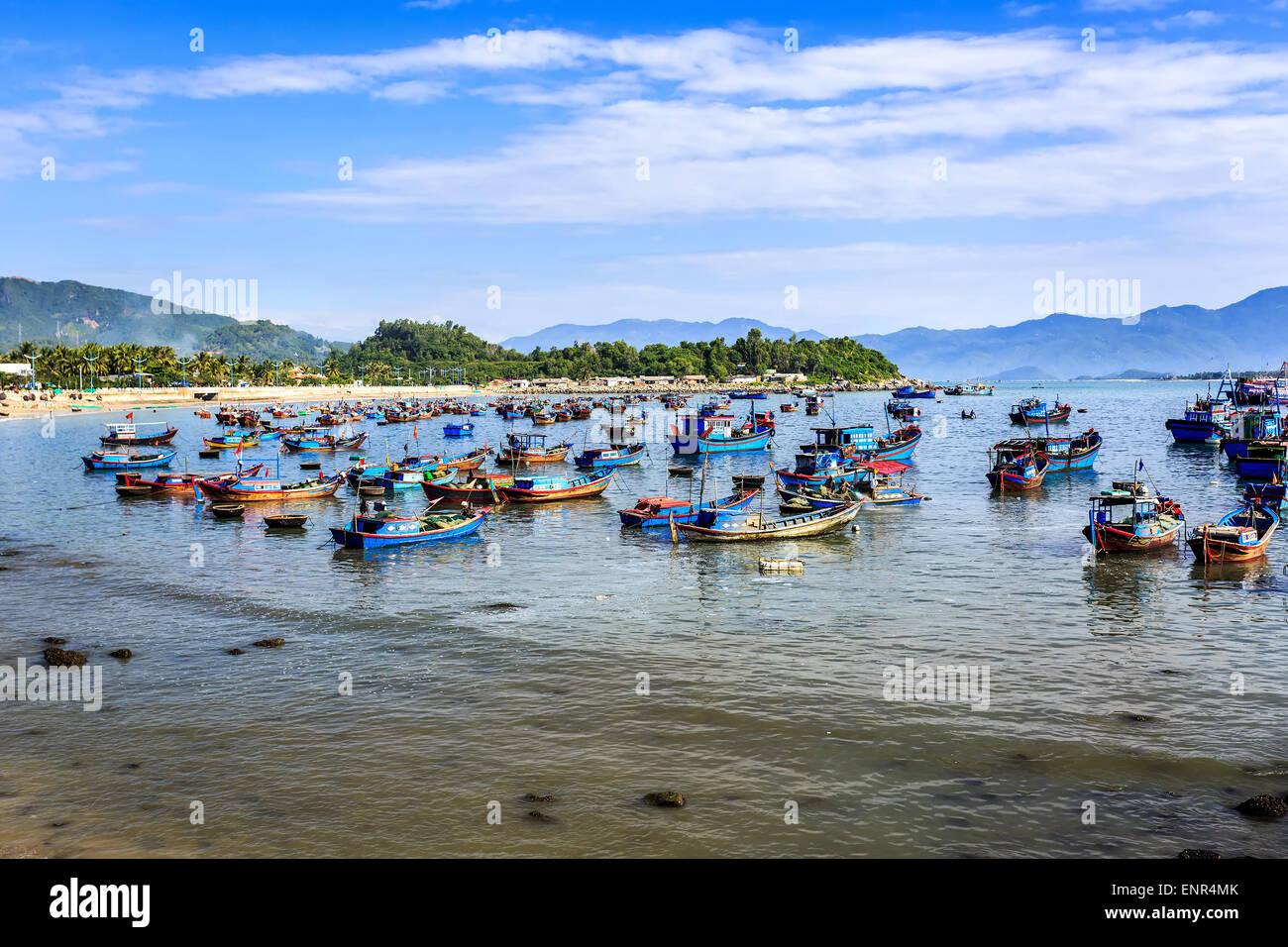 Local Boats At Morning in Nha Trang central Vietnam - Stock Image