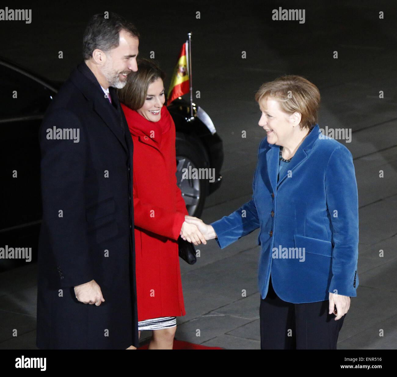 Koenig Felipe VI, Koenigin Letizia von Spanien, BKin Angela Merkel - Treffen der dt. Bundeskanzlerin mit dem spanischen - Stock Image