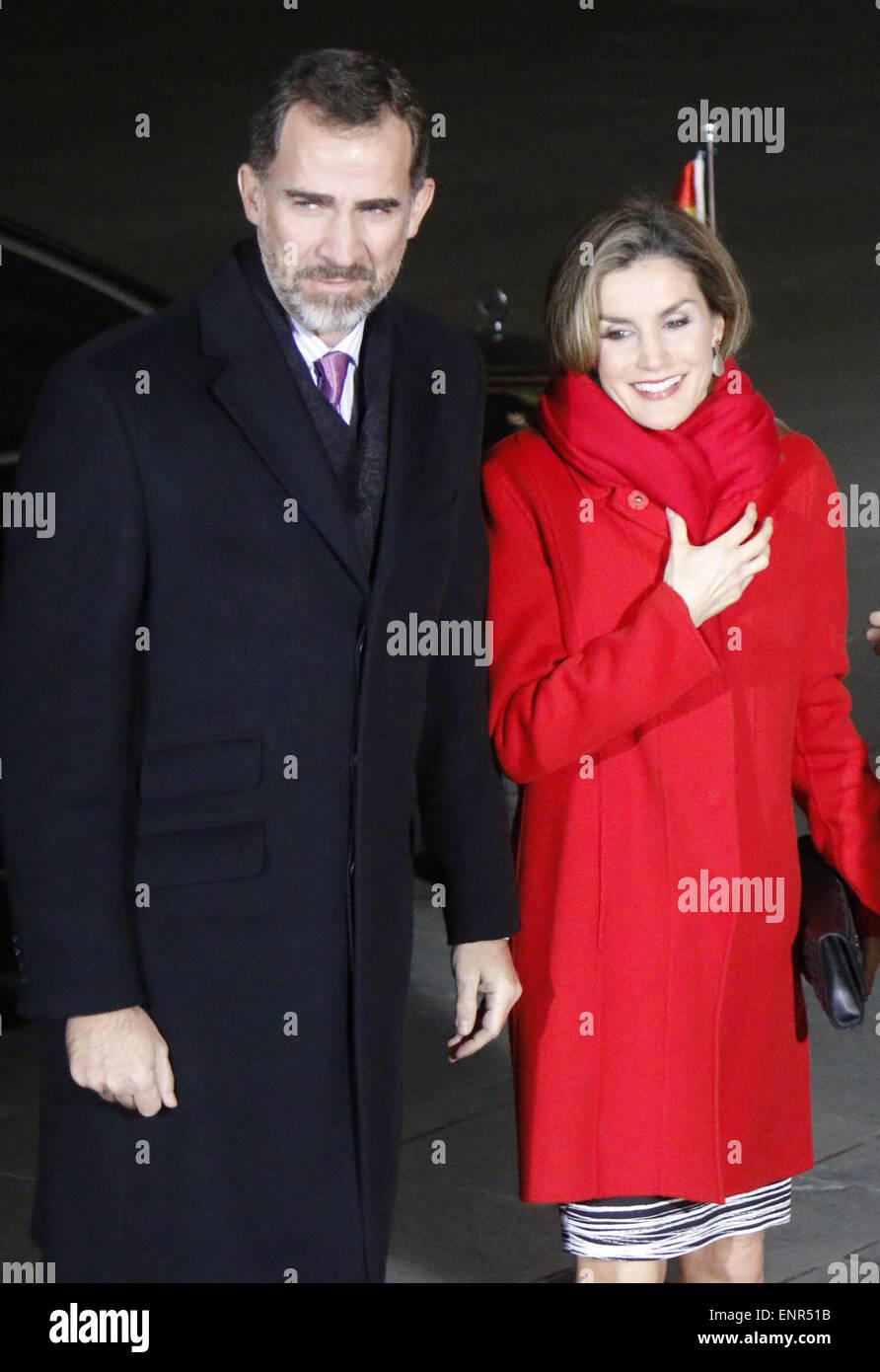 Koenig Felipe VI, Koenigin Letizia von Spanien - Treffen der dt. Bundeskanzlerin mit dem spanischen Koenigspaar, - Stock Image