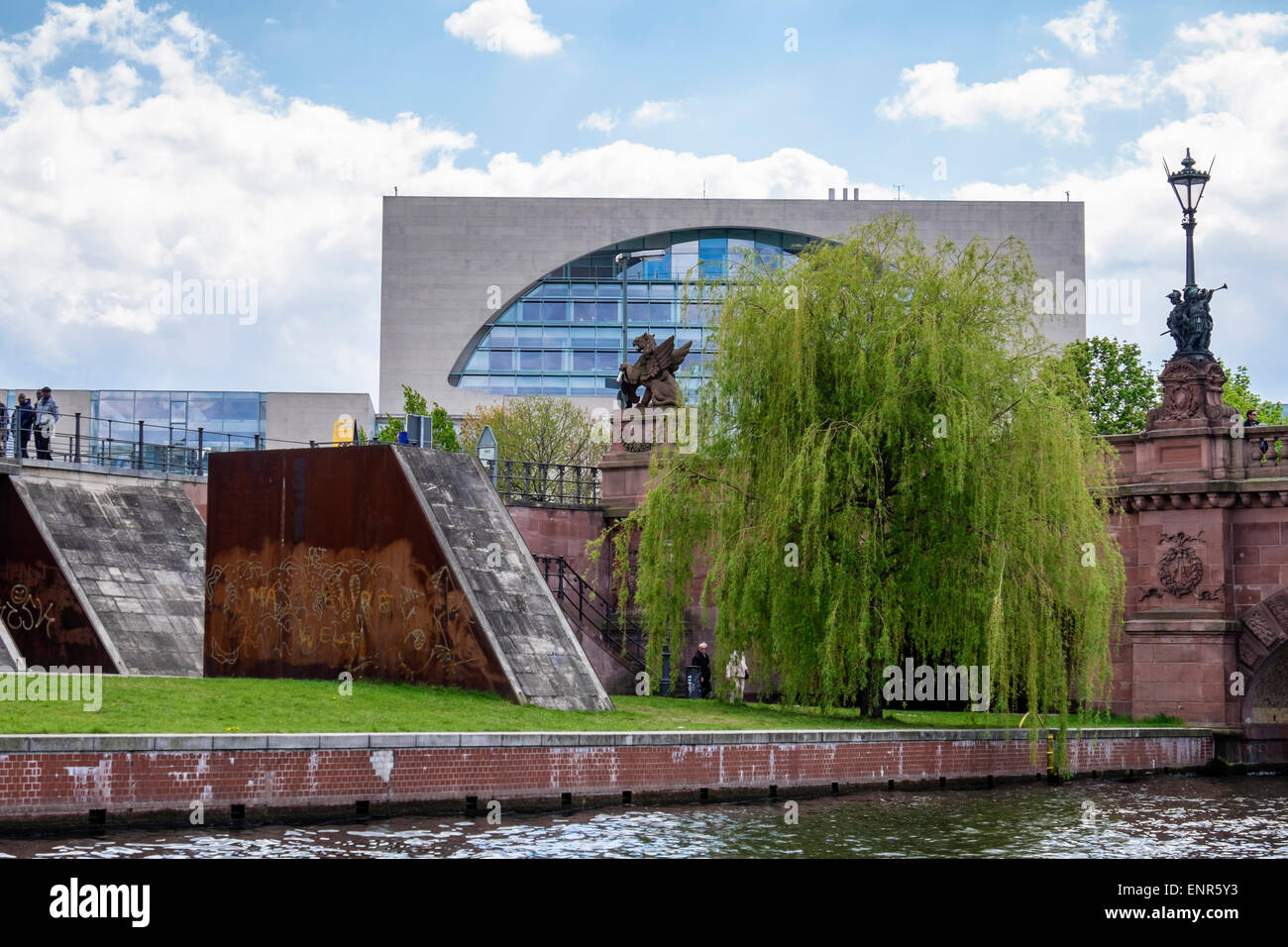 Berlin German Chancellery, modern building houses offices of German Chancellor near river Spree - Stock Image