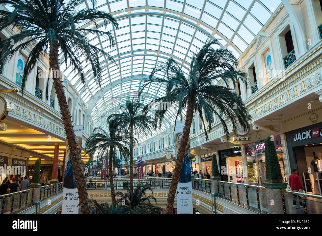 Trafford Centre,Manchester,England.Huge covered shopping,retail therapy entertainment experience complex with free - Stock Image