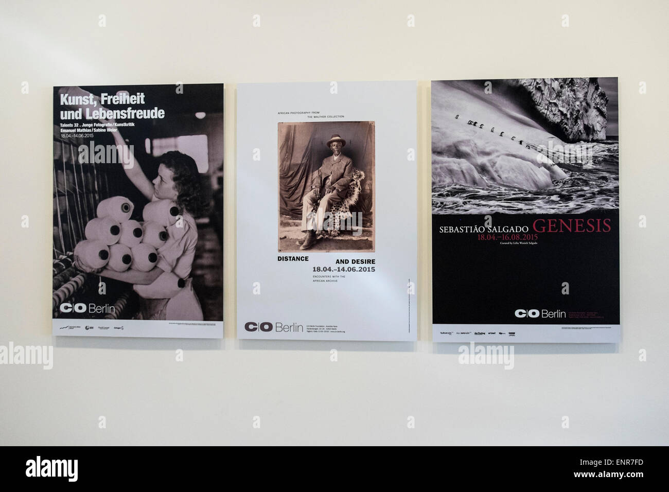 C/O Berlin modern Photographic and art gallery posters of current exhibitions in Amerika Haus, Berlin - Stock Image