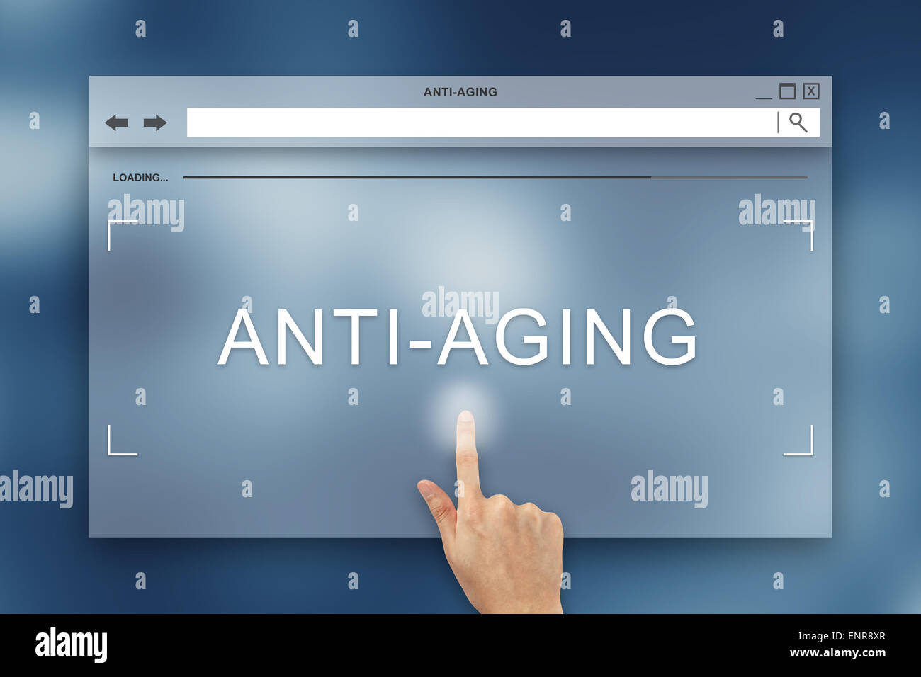 hand press on anti aging button on webpage - Stock Image