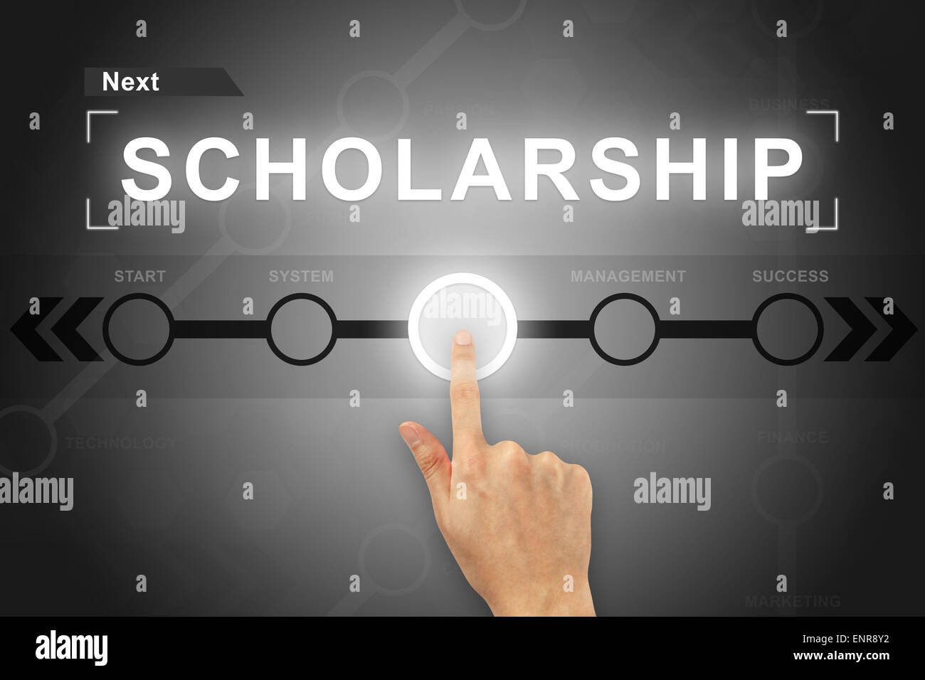 hand clicking scholarship button on a touch screen - Stock Image