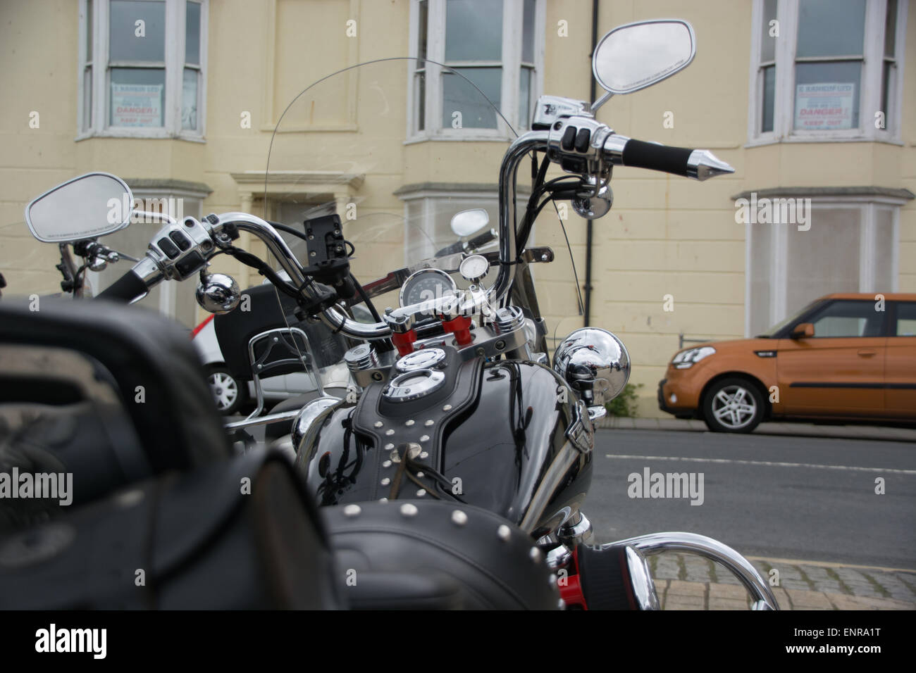 Harley Davidson Owners Club Visit to Aberystwyth - Stock Image