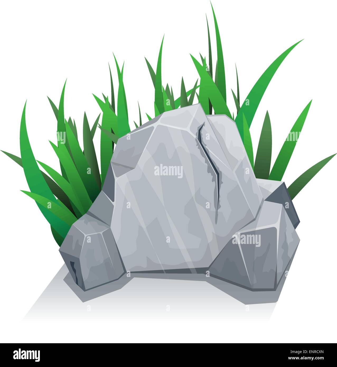 Single stone with grass - Stock Vector