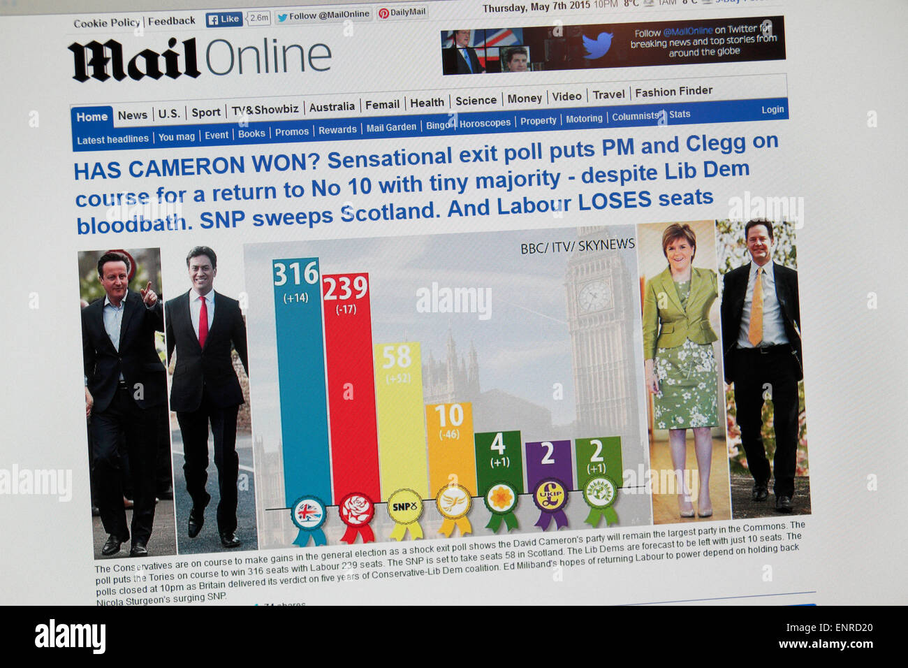 The Daily Mail online website showing the shock exit poll soon after 10pm on 7th May 2015 in the UK General Election. - Stock Image