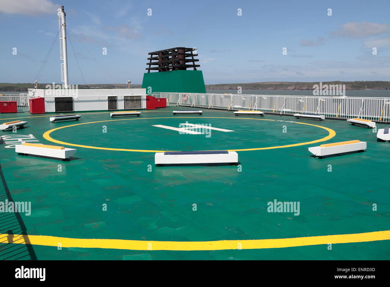 The emergency heli-pad on the Irish Ferries owned ferry, the 'Isle of Inishmore'. - Stock Image