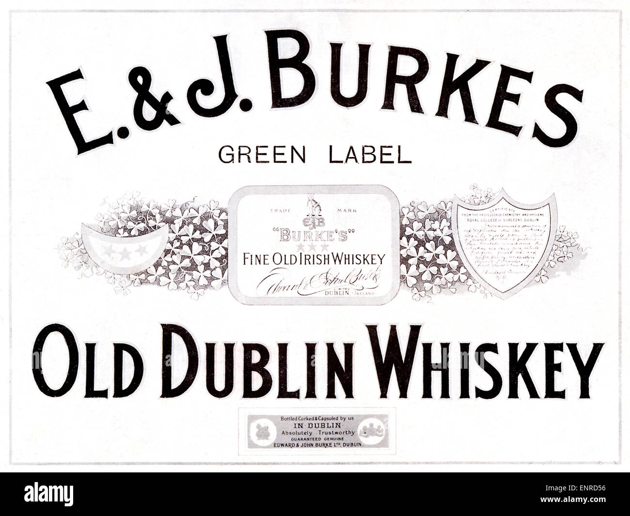 E&J Burkes Old Dublin Whisky, 1916 advert for the Irish whisky distillery founded in 1849 in the Irish capital - Stock Image