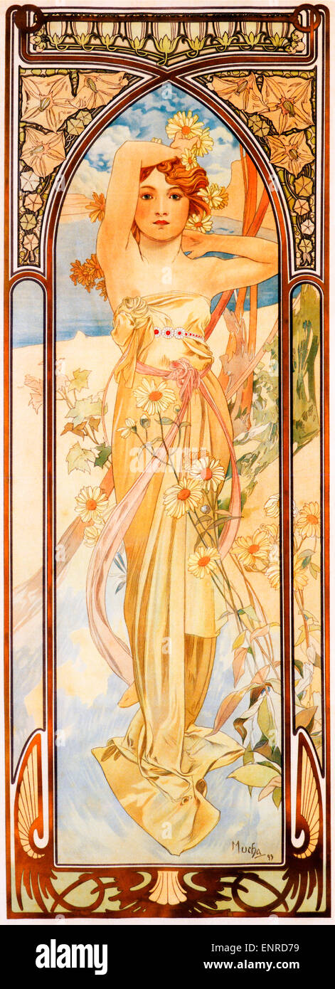 Mucha, Brightness Of Day, 1899 Art Nouveau poster by Czech artist Alphonse Mucha for the series symbolising the - Stock Image