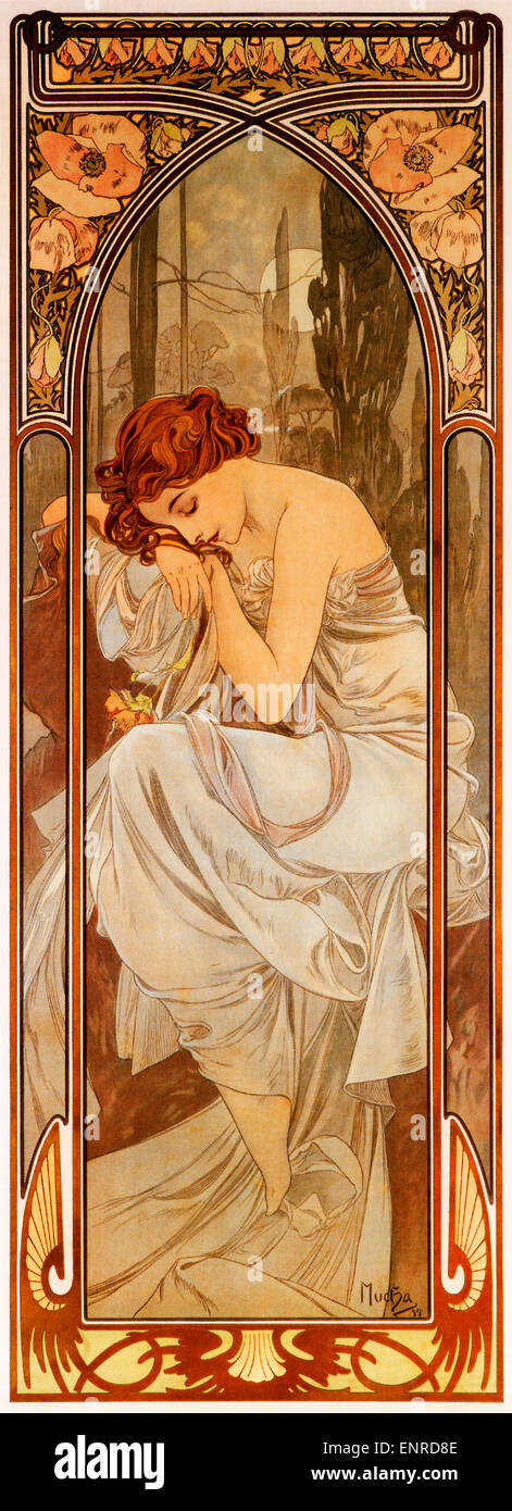 Mucha, Nightly Rest, 1899  Art Nouveau poster by Czech artist Alphonse Mucha for the series symbolising the moods - Stock Image
