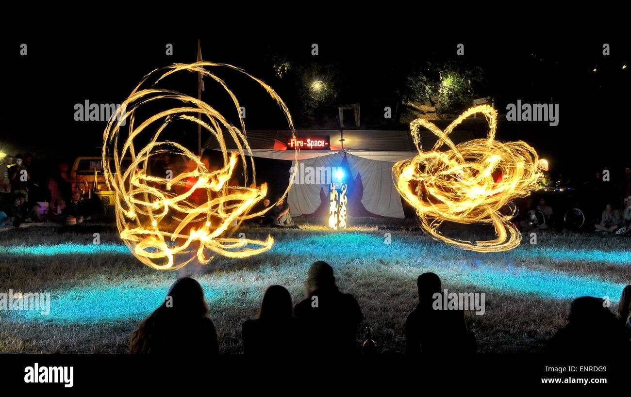 Artists playing with fire - Stock Image