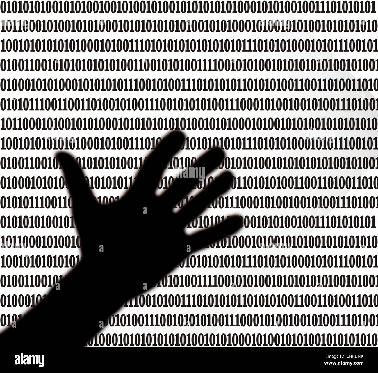 silhouetted hand hovering over a sheet of binary code - Stock Image