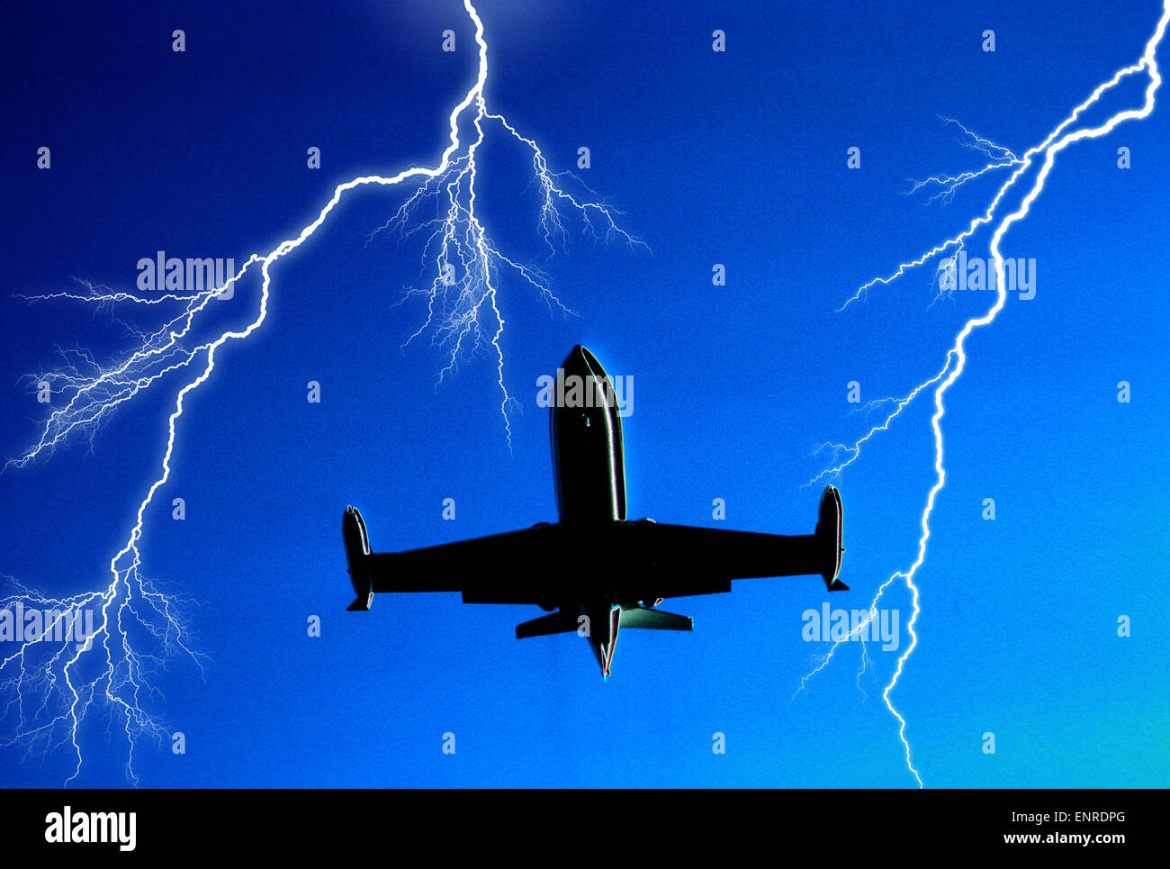 airborne jet airplane surrounded by multiple lightning bolts - Stock Image