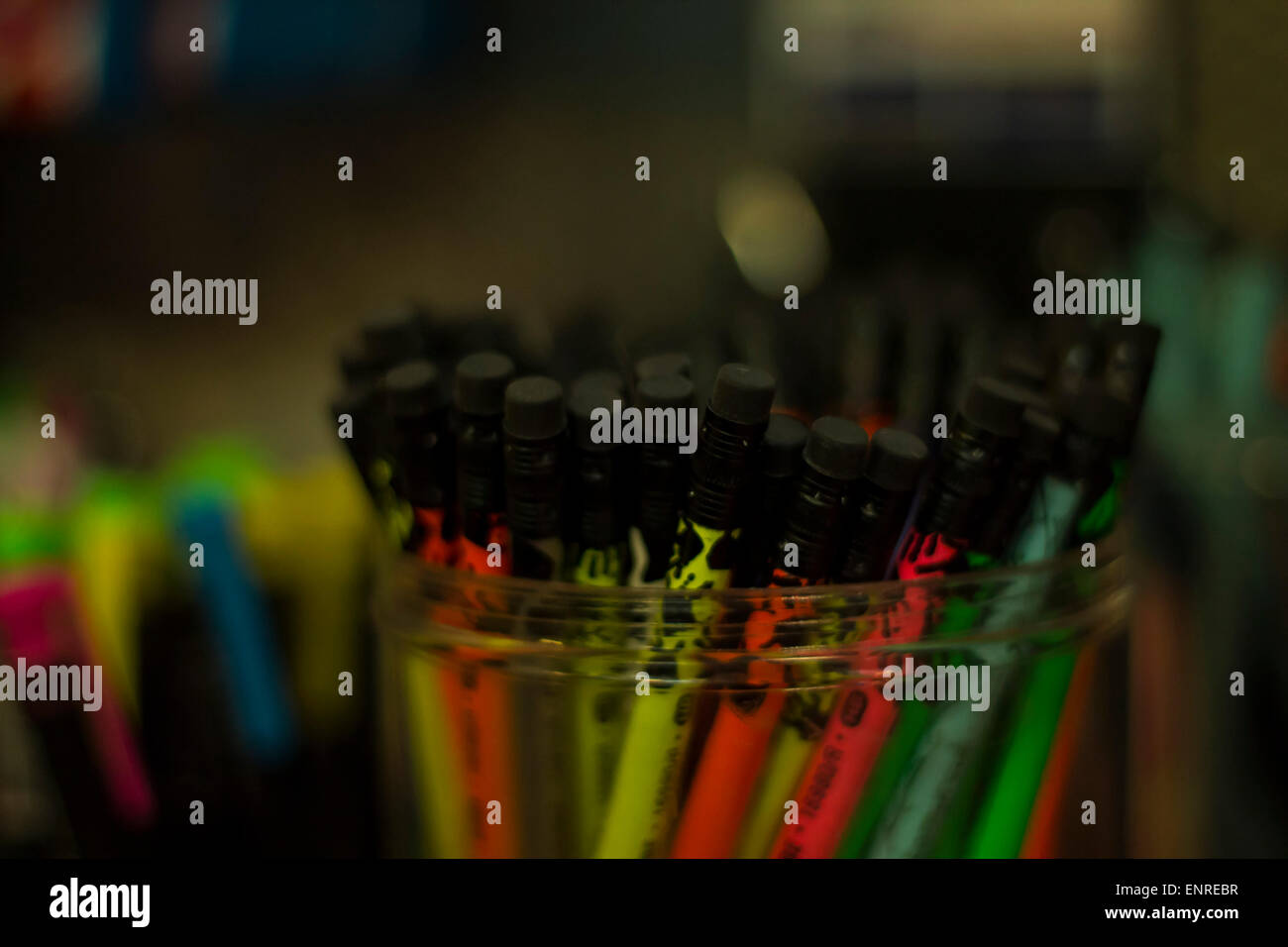 eraser top highlight pencil - Stock Image