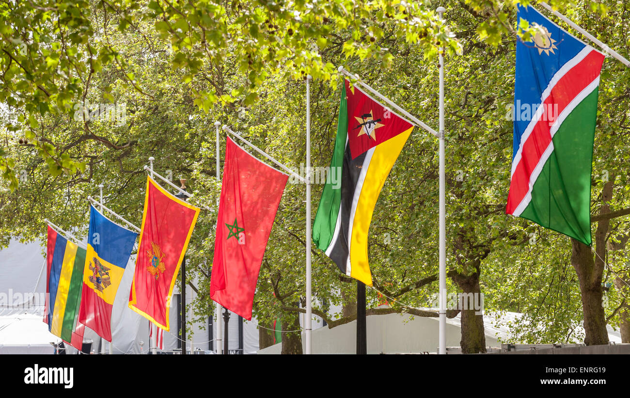 London, UK. 10 May 2015. The Mall is decorated with international flags as part of the capital's VE Day 70th - Stock Image