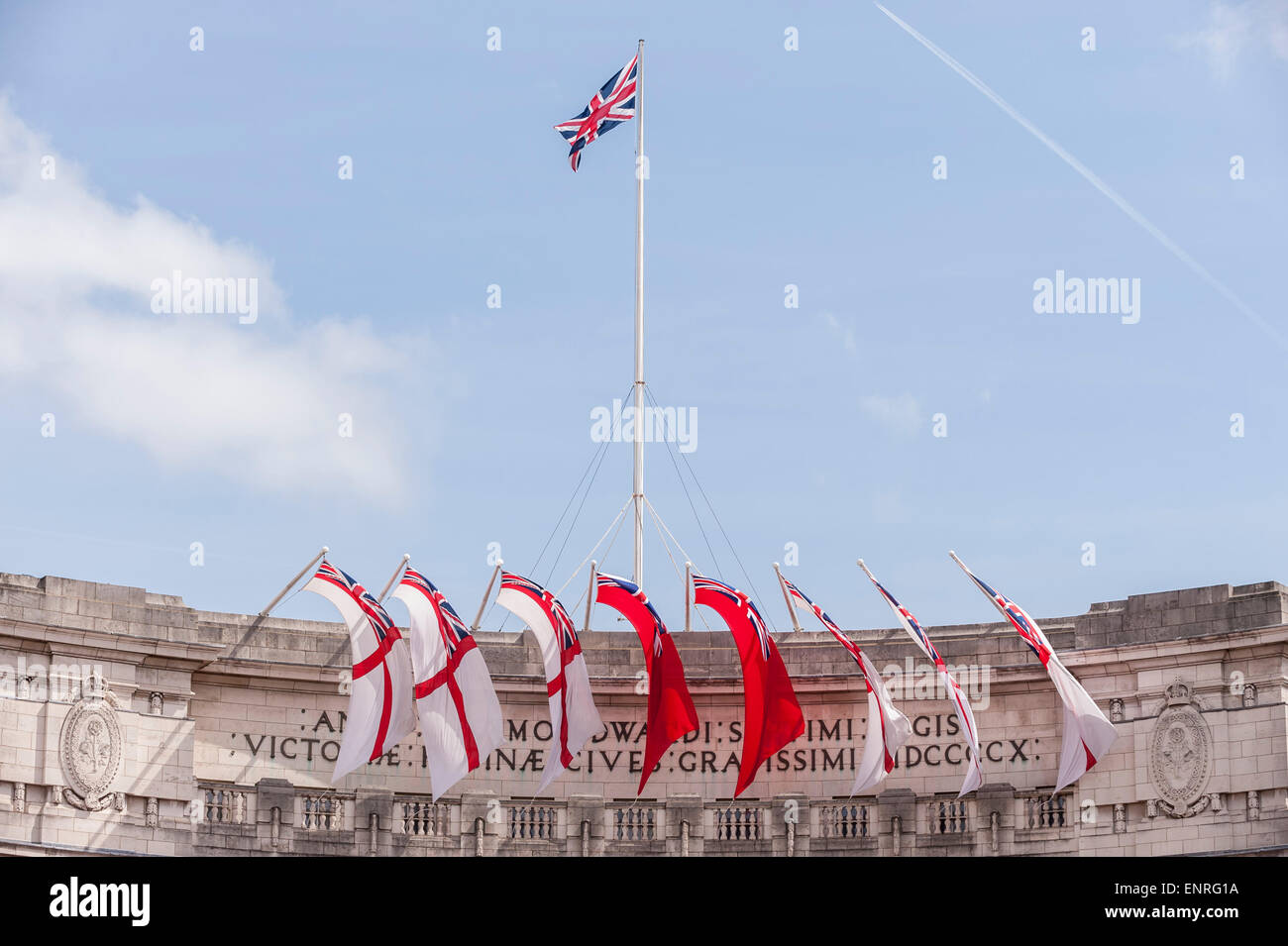 London, UK. 10 May 2015. Admiralty Arch is decorated with special Union Jack flags as part of the capital's - Stock Image