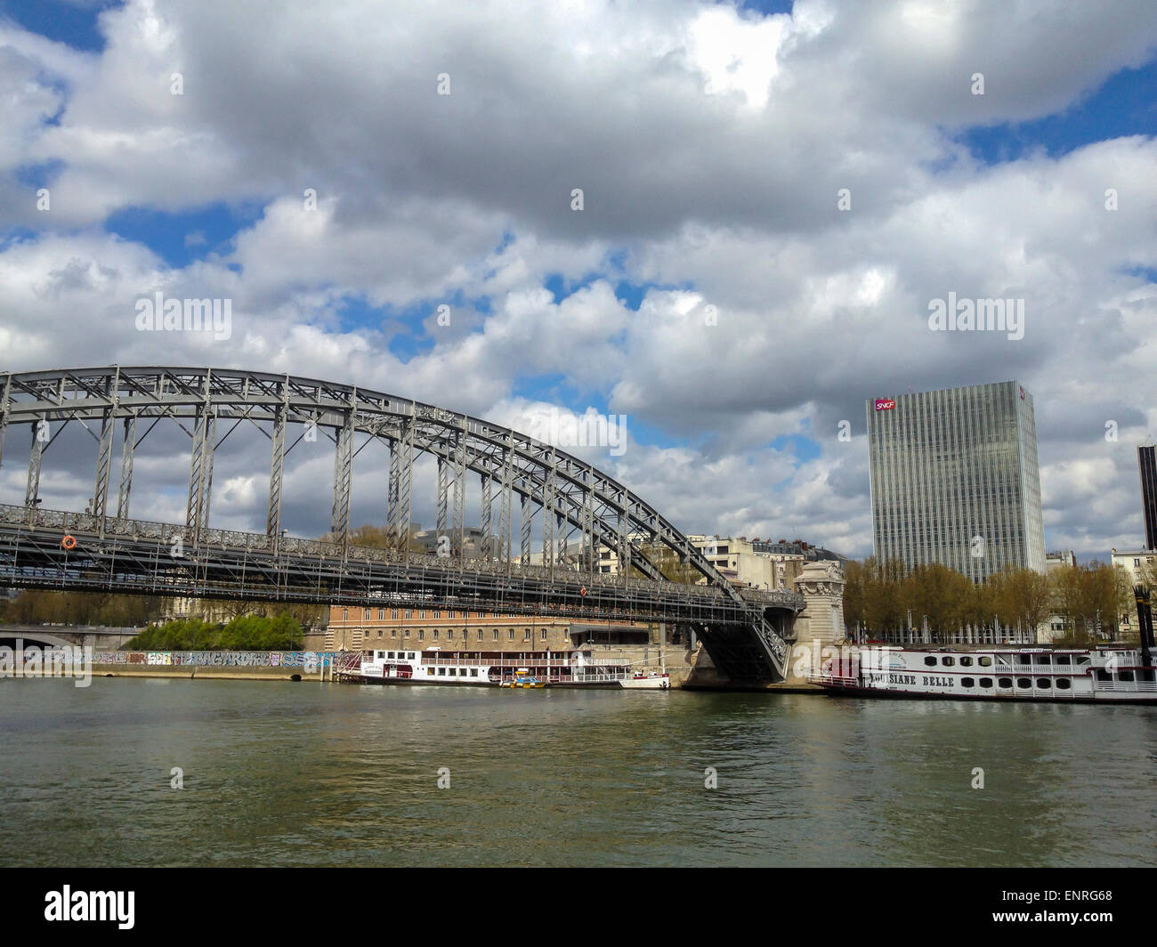 Paris, Bridges, France. Urban Scenics, Seine River with Austerlitz Bridge - Stock Image
